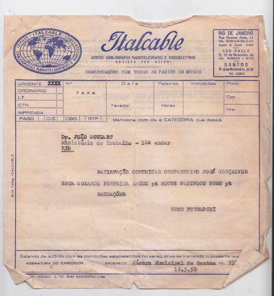 Modelo de telegrama da Italcable, escritório de Santos.
