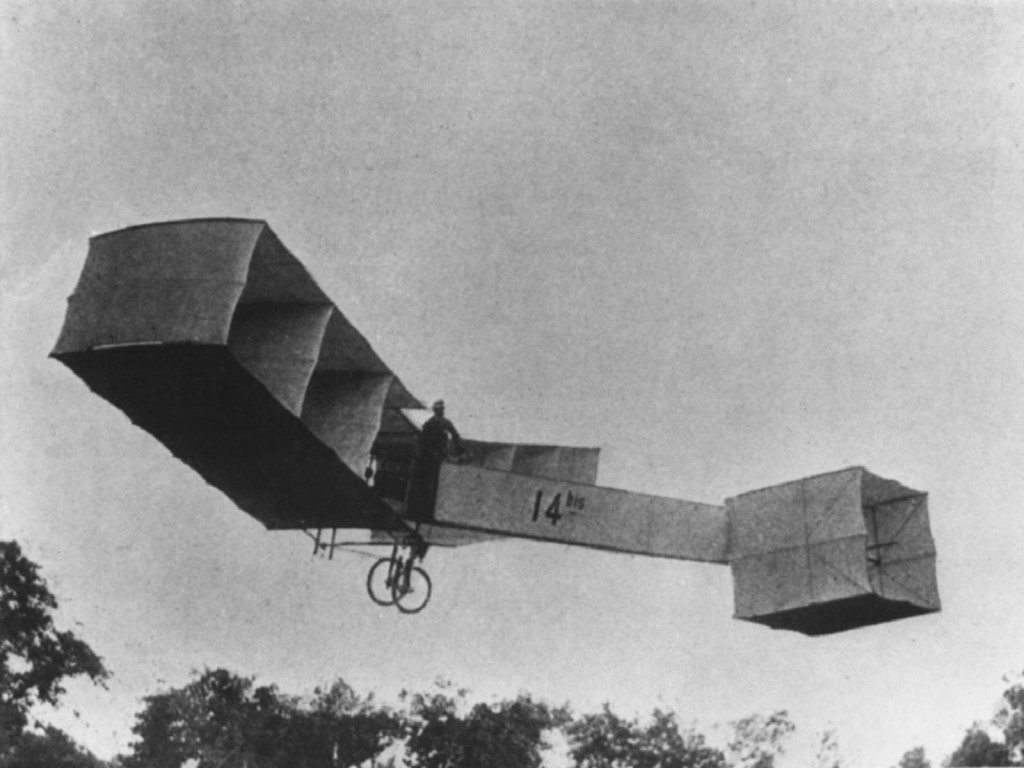 O célebre voo do 14-BIS em Paris, abrindo caminho para uma série de aventuras pelos céus.