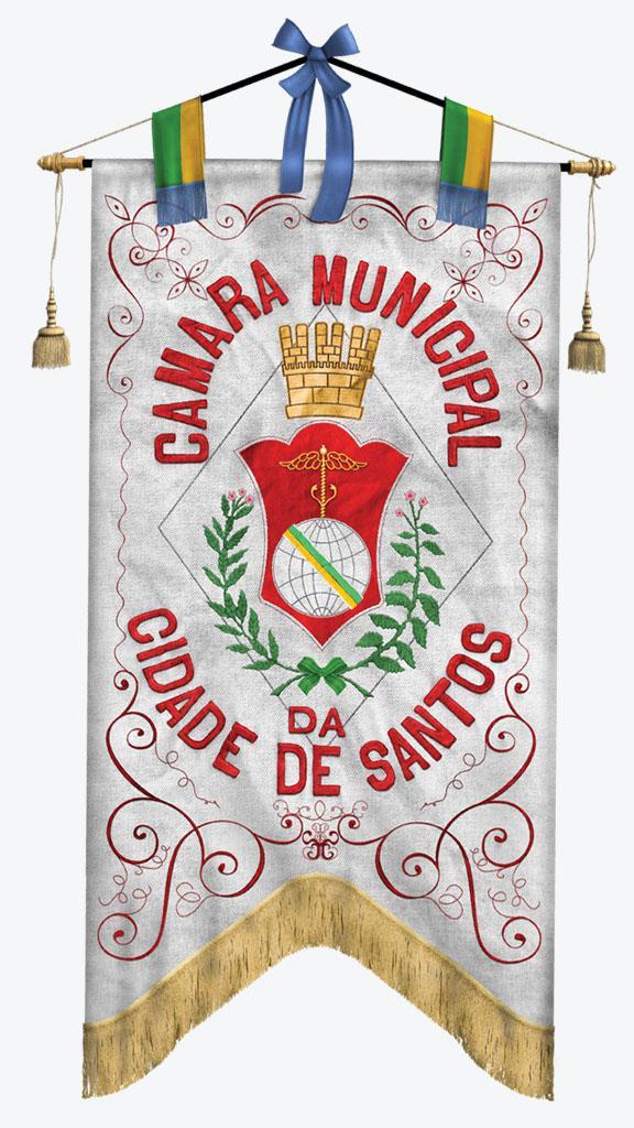 Primeiro Brasão de Armas de Santos, de 1888.
