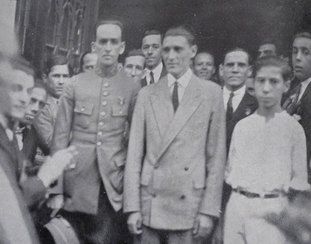 Ribeiro de Barros e o tenente Negrão, na Associação Comercial de Santos.