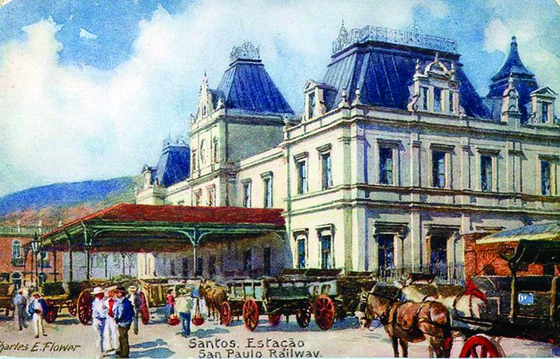 Estação do Valongo na década de 1910, na pintura de Charles Flowers.