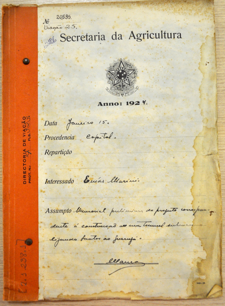 capa do processo original, guardado no Arquivo Público do Estado de São Paulo.