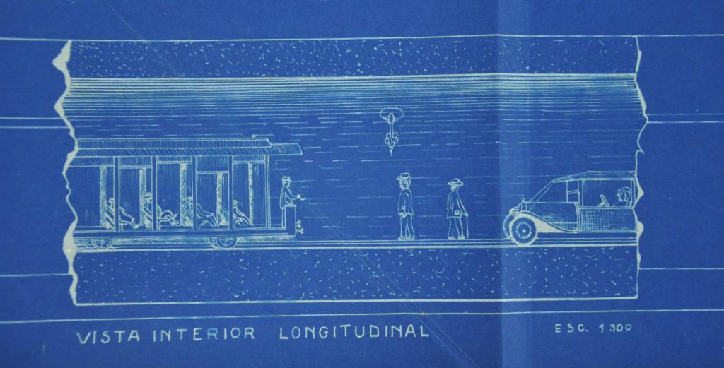 O túnel submarino também previa a passagem de pessoas à pé, conforme o desenho demonstra.