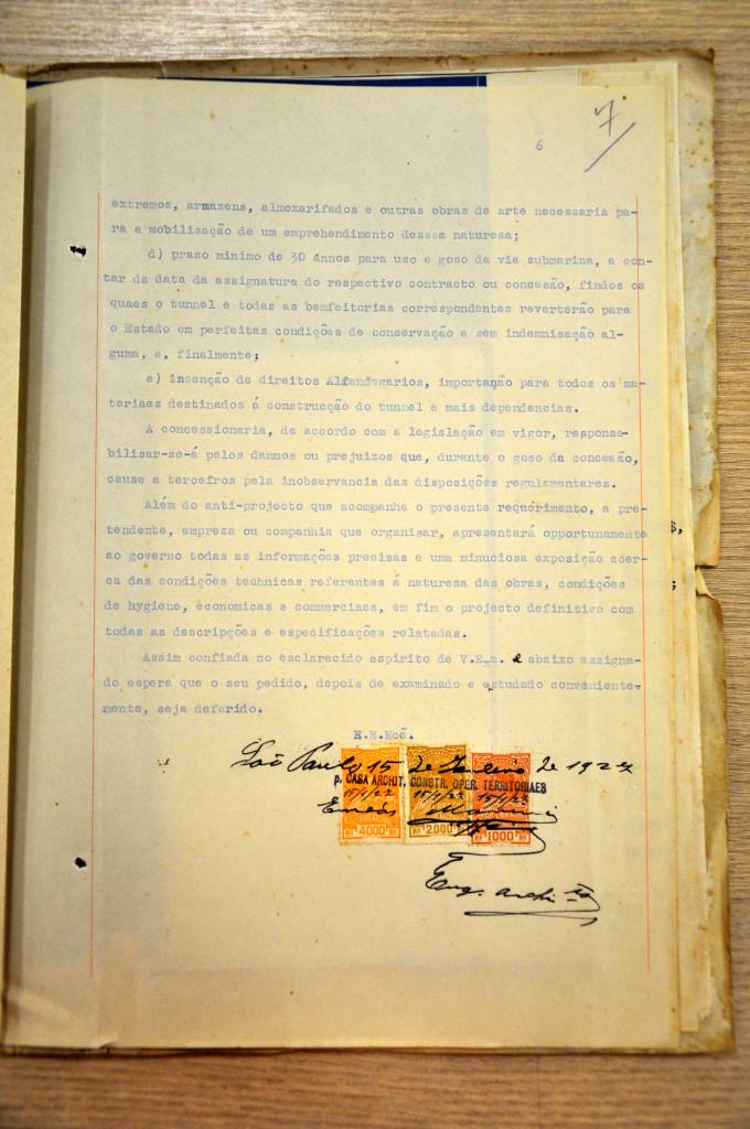 Página final do relatório contendo a assinatura do autor do projeto de 1927.