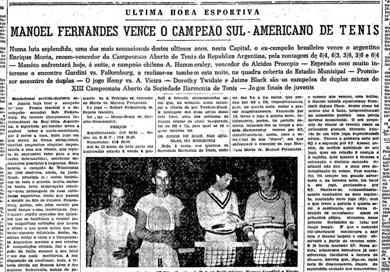 Vitória sobre o argentino Morea foi a partida mais longa de Maneco: 4 horas e meia.