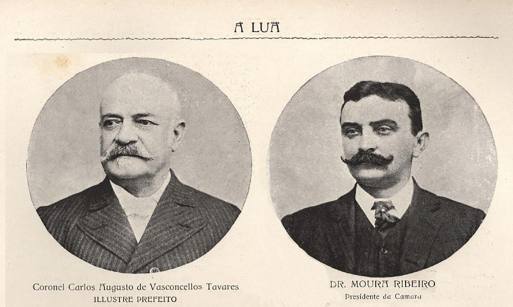 As fotos do então prefeito de Santos, coronel Carlos Augusto de Vasconcelos Tavares e do presidente da Câmara, Dr. Bento de Moura Ribeiro.