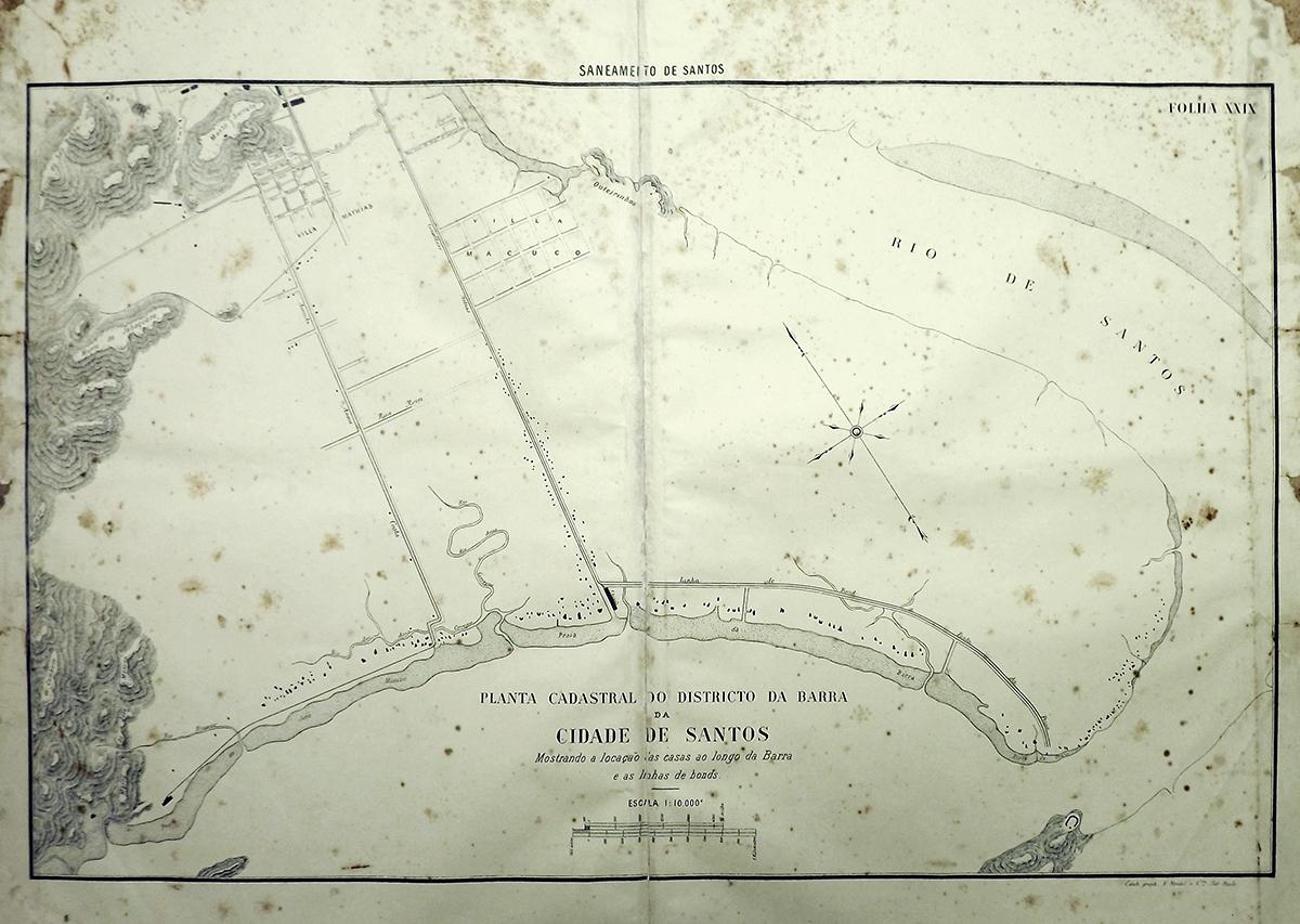 Mapa de Santos em 1895. A Conselheiro Nébias era a única (e ainda é) a ligar a velha cidade à futura nova cidade. Clique para ampliar a imagem.