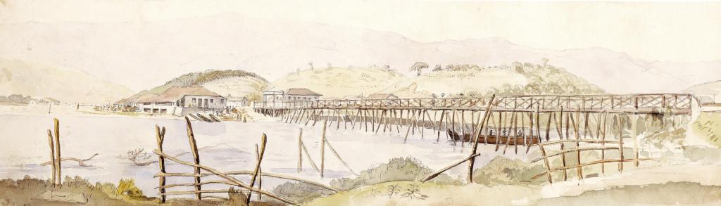 Outra visão da ponte sobre o Rio Cubatão. Álbum Highcliffe, IMS.