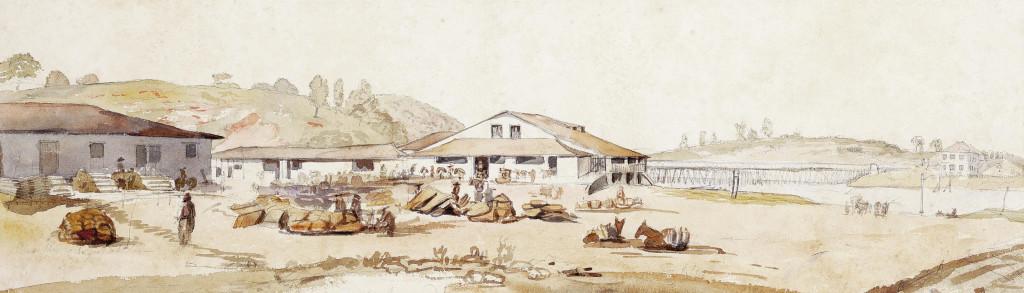 Cubatão e sua barreira fiscal, em 1827. Álbum Highcliffe, IMS.