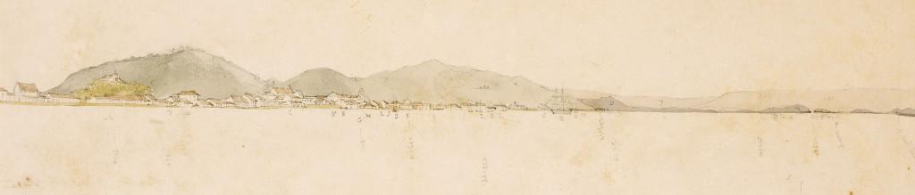 Geral de Santos, provavelmente feita a partir da Ilha Barnabé, do acervo do Museu Africa.