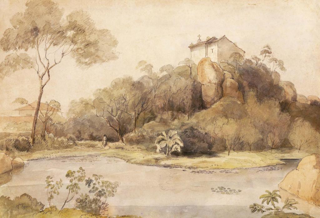 Outeiro de Santa Catarina, com a antiga capela (hoje inexistente). Álbum Highcliffe, IMS.