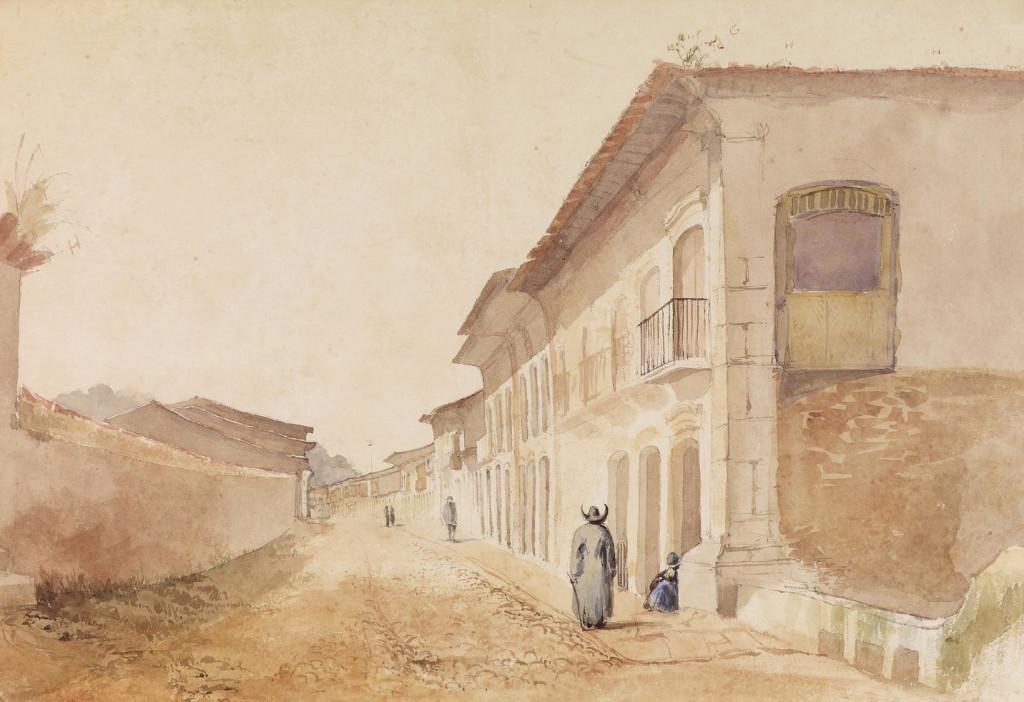 A Rua Direita (atual XV de Novembro), principal via da vila santista no início do século 19.