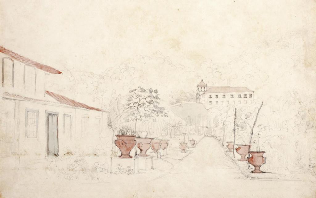 Arte inacabada da Rua São Bento, tendo o Mosteiro ao fundo. Álbum Highcliffe, IMS.