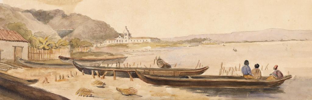 Imagem do Valongo, em 1827, na aquarela de Burchell. Álbum Highcliffe, IMS.