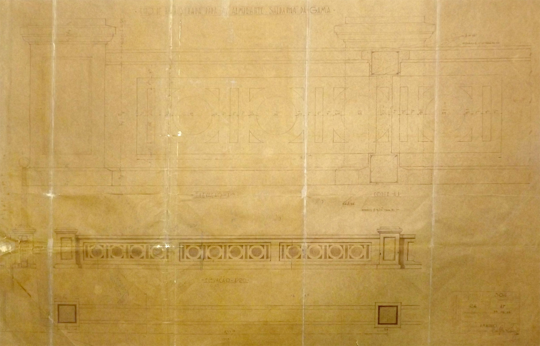 Primeiro projeto da mureta de canal (Balaustrada da Avenida Almirante Saldanha da Gama).
