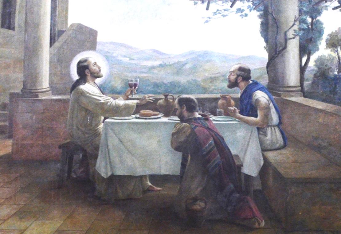 Ceia com os discípulos de Emaús, a última obra do mestre, antes de sua morte, exposta na capela do Santíssimo Sacramento, na Catedral de Santos (foto de Marcelo Mathias)