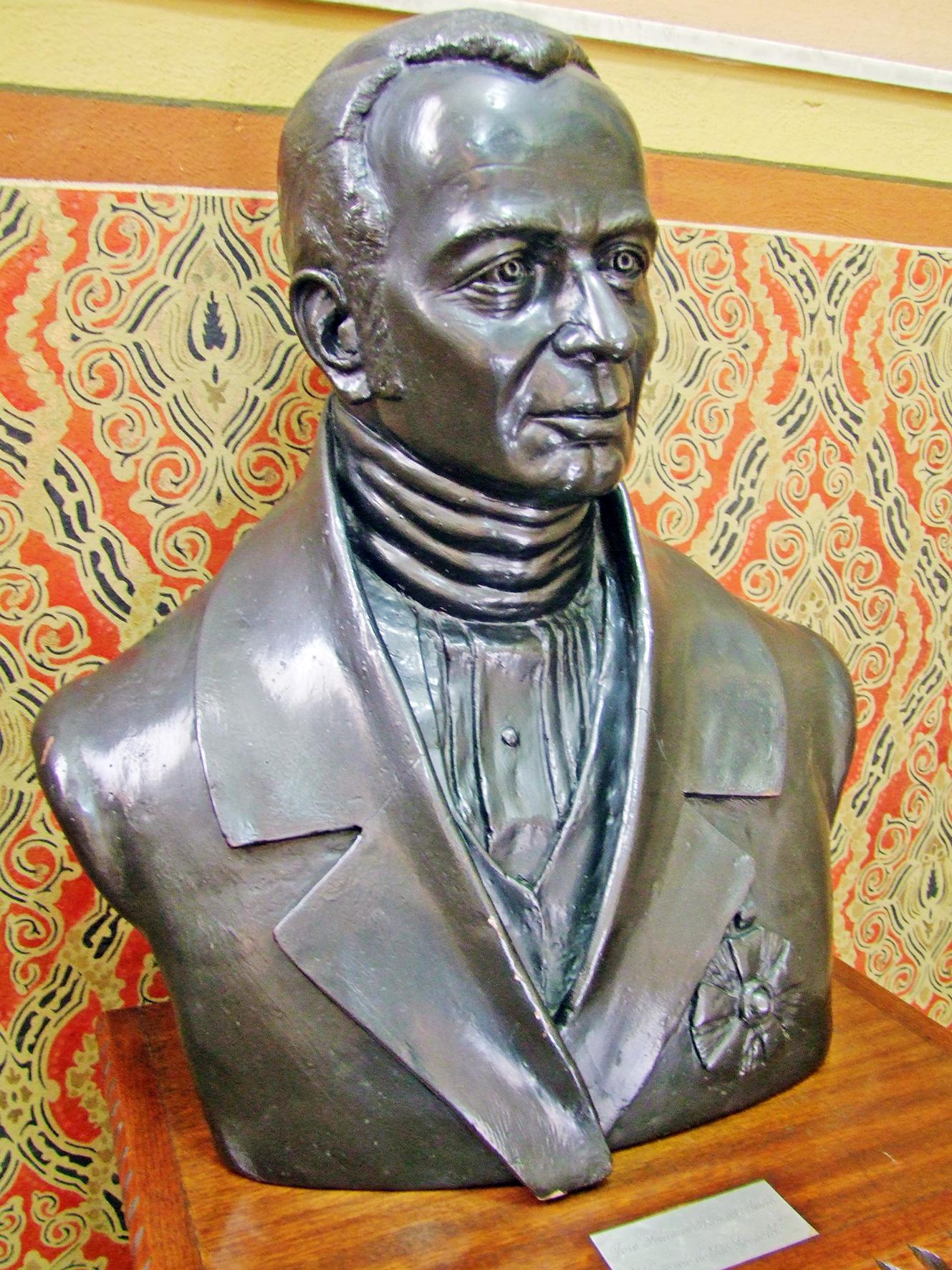 Busto do ilustre santista que se encontra na sede da Sociedade Visconde de São Leopoldo (mantenedora da UniSantos e do Liceu Santista,  que já abrigou o Palácio Episcopal), em Santos.
