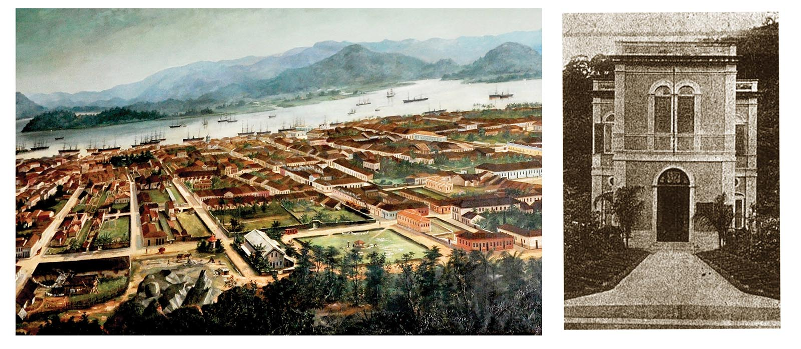 No quadro de Calixto (acervo da Associação Comercial de Santos), vê-se o terreno onde seria construído o escritório da Comissão de Saneamento (à direita, em imagem de 1903).