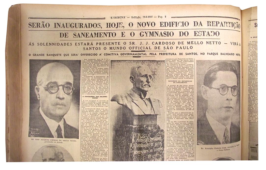 Manchete de A Tribuna anunciando a inauguração do prédio com a presença do governado de São Paulo.
