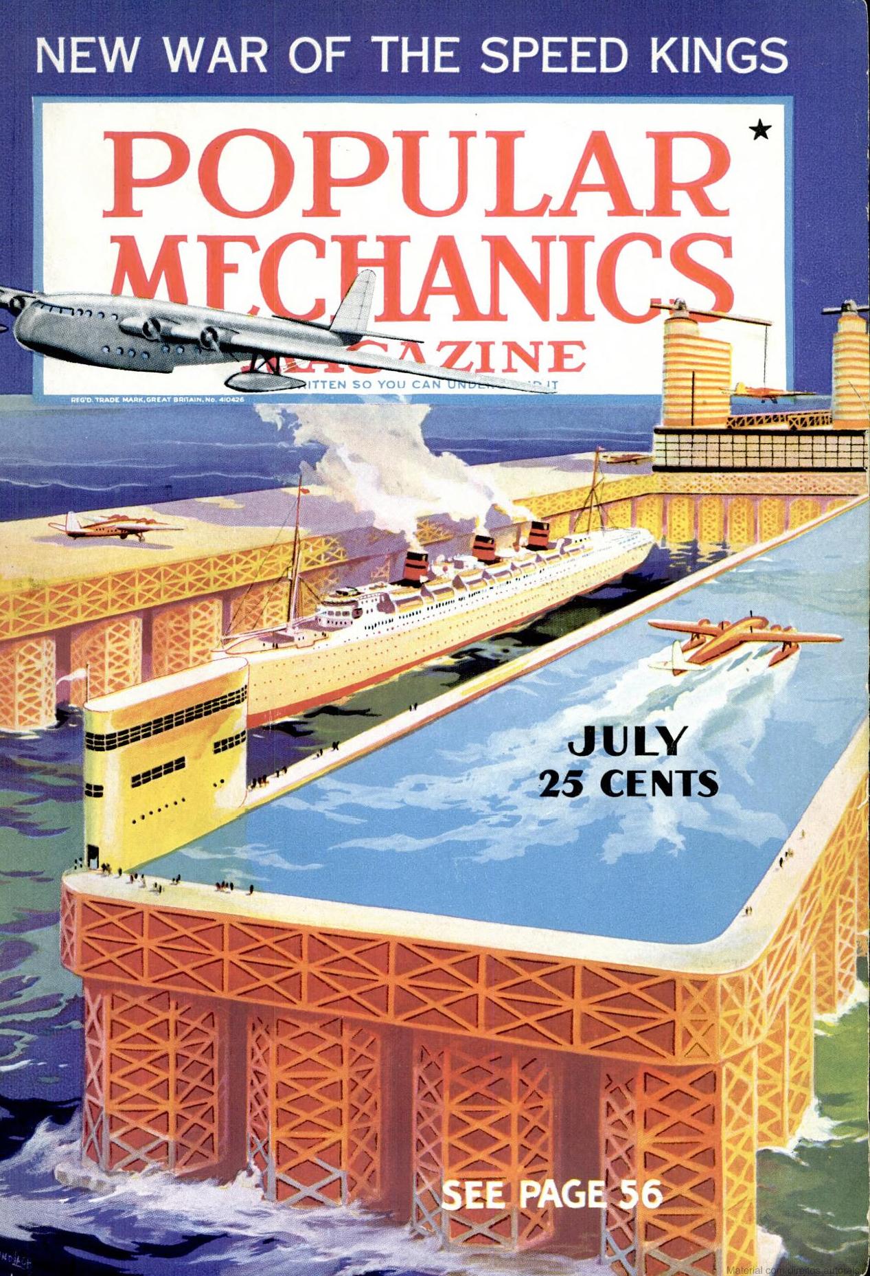 Edição de julho da revista Popular Mechanics, responsável por publicar uma reportagem que deu origem ao surfe no Brasil.