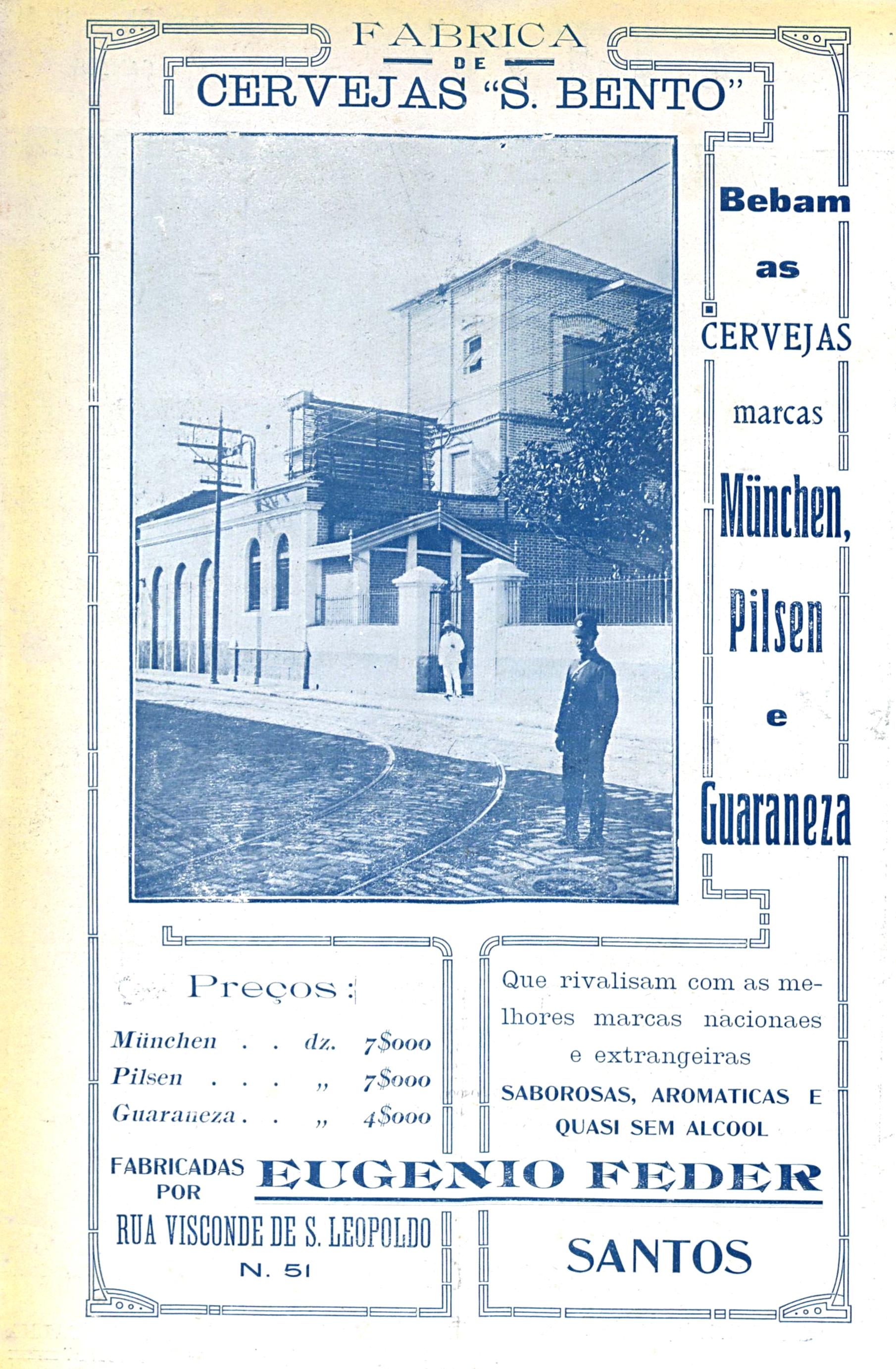 Anuncio da Cervejaria São Bento publicado na revista A Fita, de 1913.