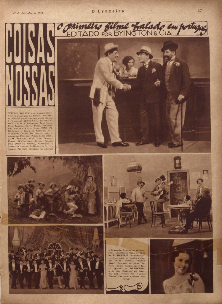 Cenas de Coisas Nossa, o primeiro filme falado produzido no Brasil, publicado na Revista O Cruzeiro, de 1931.