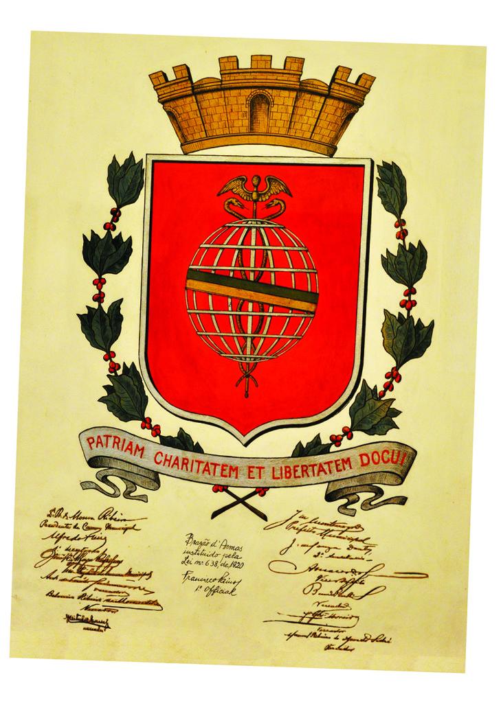 O Brasão de Armas da prefeitura de Santos foi criado em 1920, pelas mãos do pintor Benecdito Calixto.