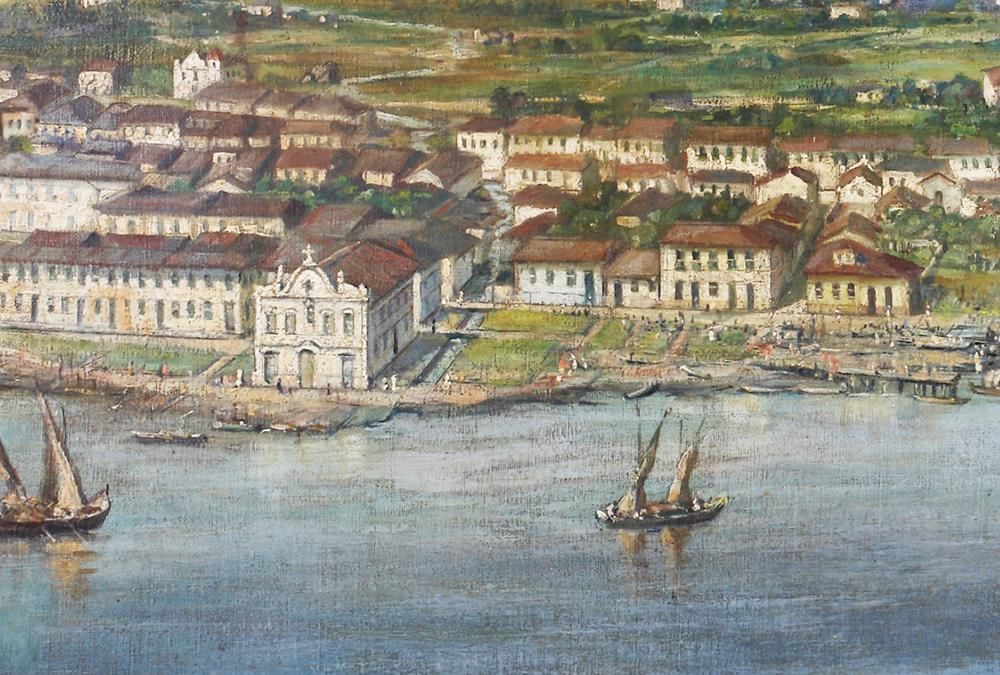 A Capela do Carvalho, em 1822, em detalhe extraído de tela de Benedicto Calixto.