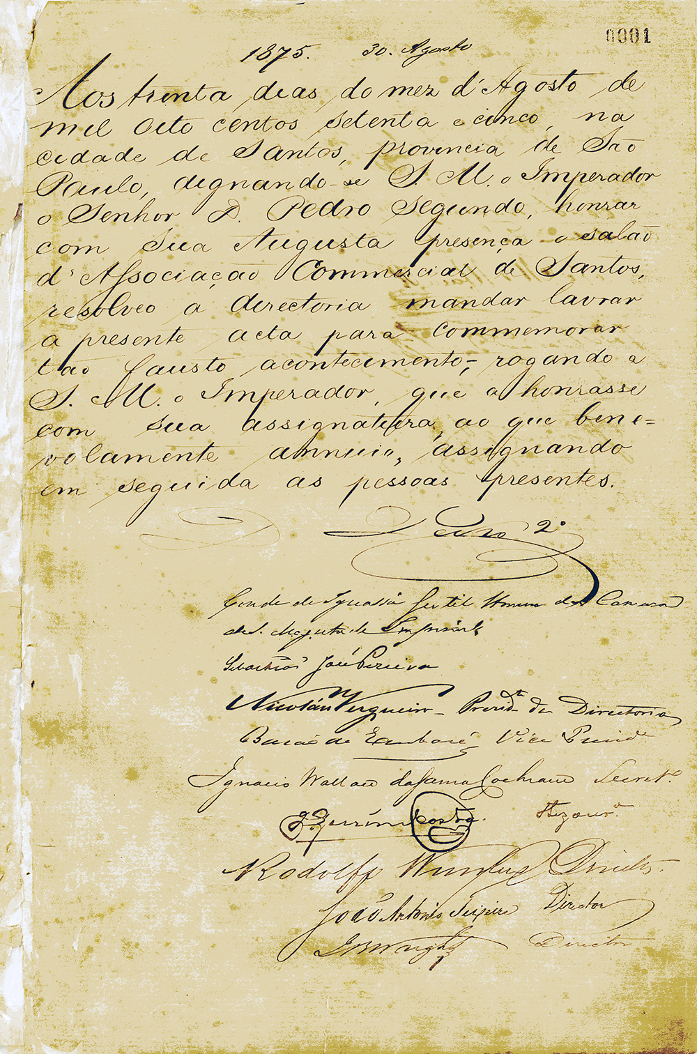 Ata de estreia do Livro, com o destaque para a assinatura do imperador D. Pedro, que assinava o 2º em numeral, e não em romano.