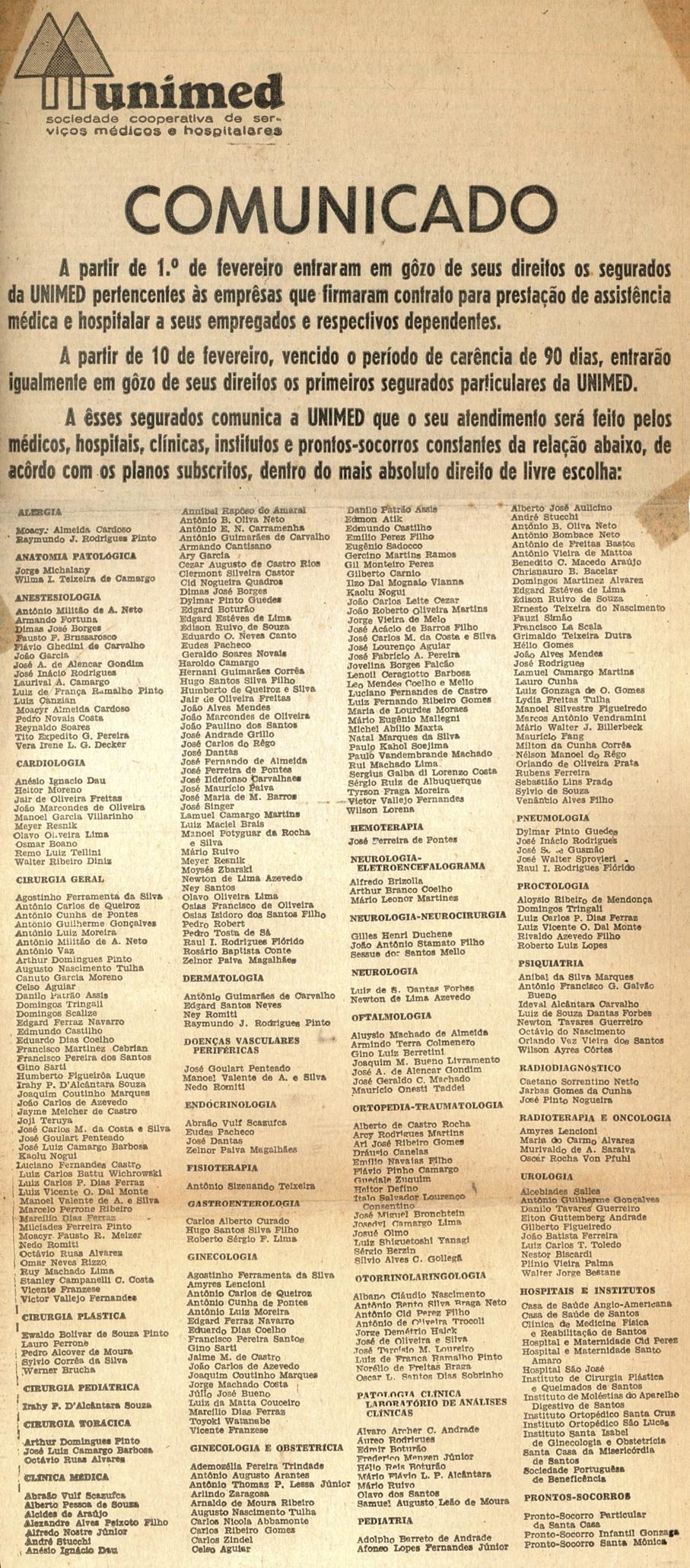 Primeiro comunicado da Unimed na imprensa, em 1968, com a relação dos médicos cooperados.