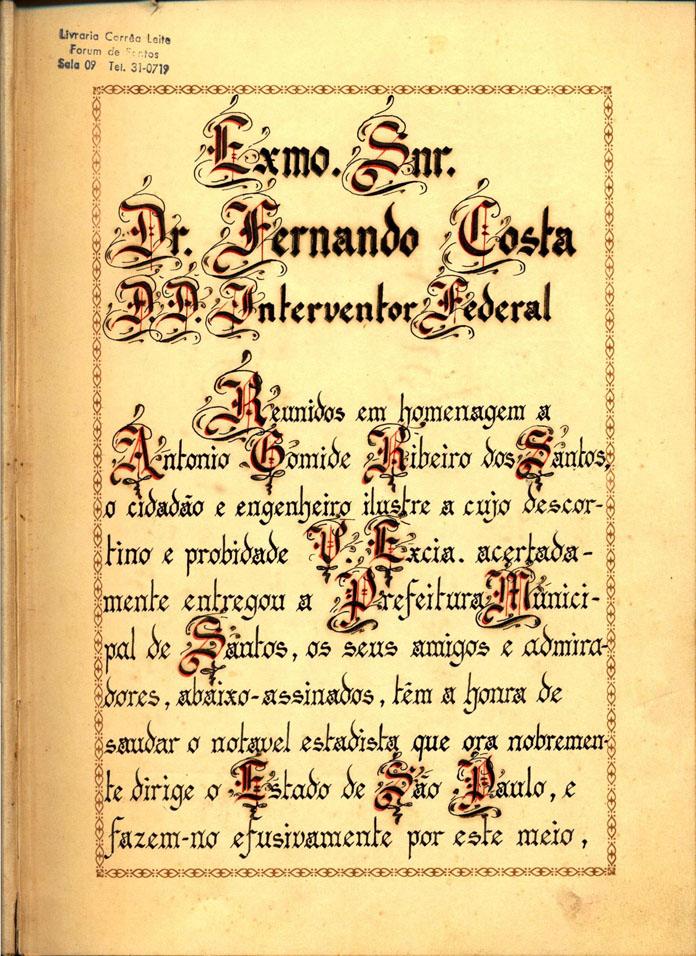 Primeira página do caderno traz uma carta dos santistas ao então interventor do Estado, Fernando Costa.