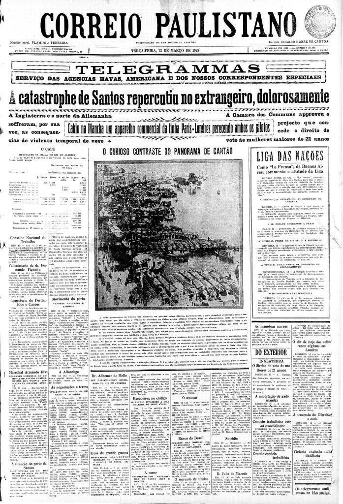 Os jornais brasileiros, como o Correio Paulistano destacaram a comoção internacional para o caso de Santos.