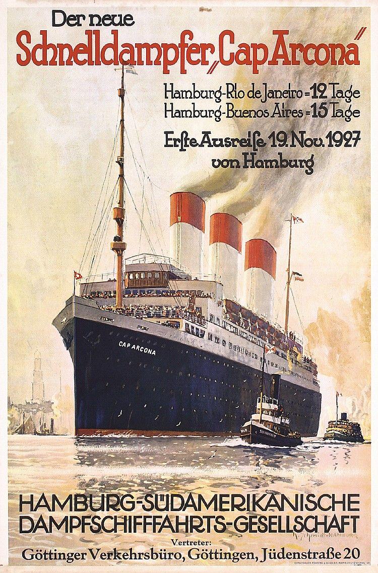 Pôster dos anos 1920 sobre o navio alemão da Hamburg-Sud