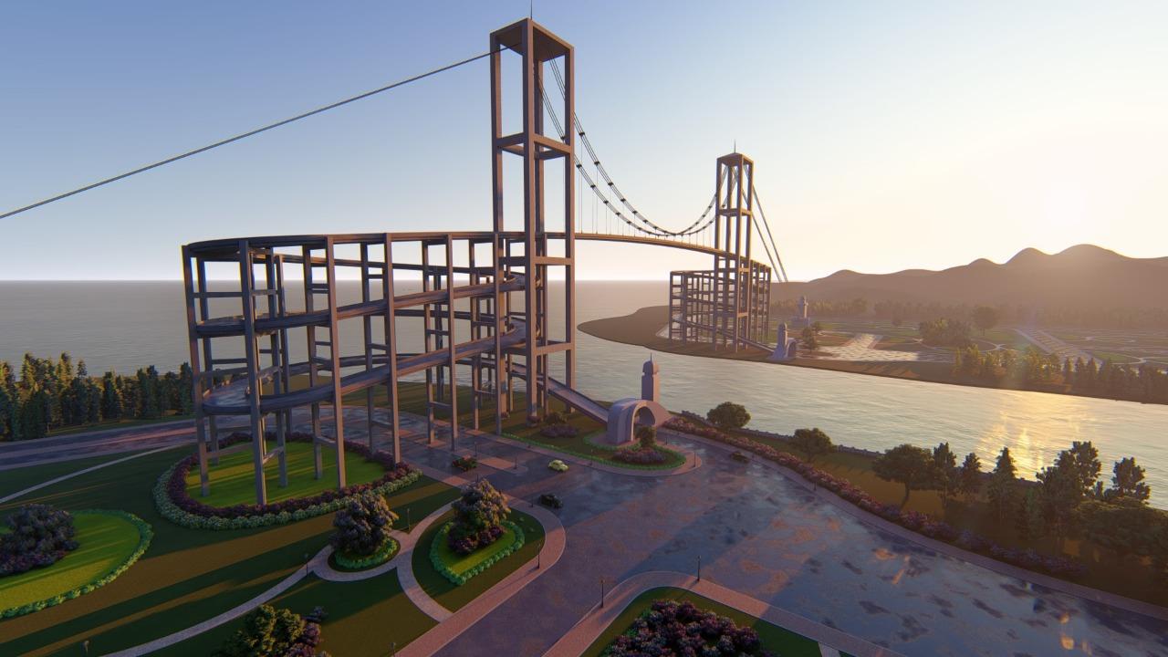 A ponte Santos-Guarujá projetada por Luiz Muzi, desenhada em computação gráfica por Eduardo Fernandes.