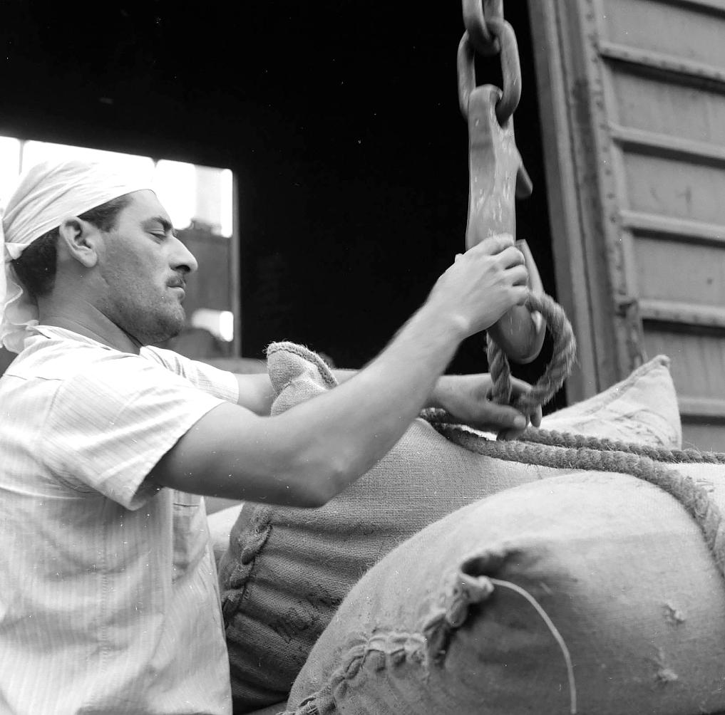 Estivador trabalhando com embarque de café. Sorensen explorava o tema principal, porém inserindo um lado humano em suas matérias.