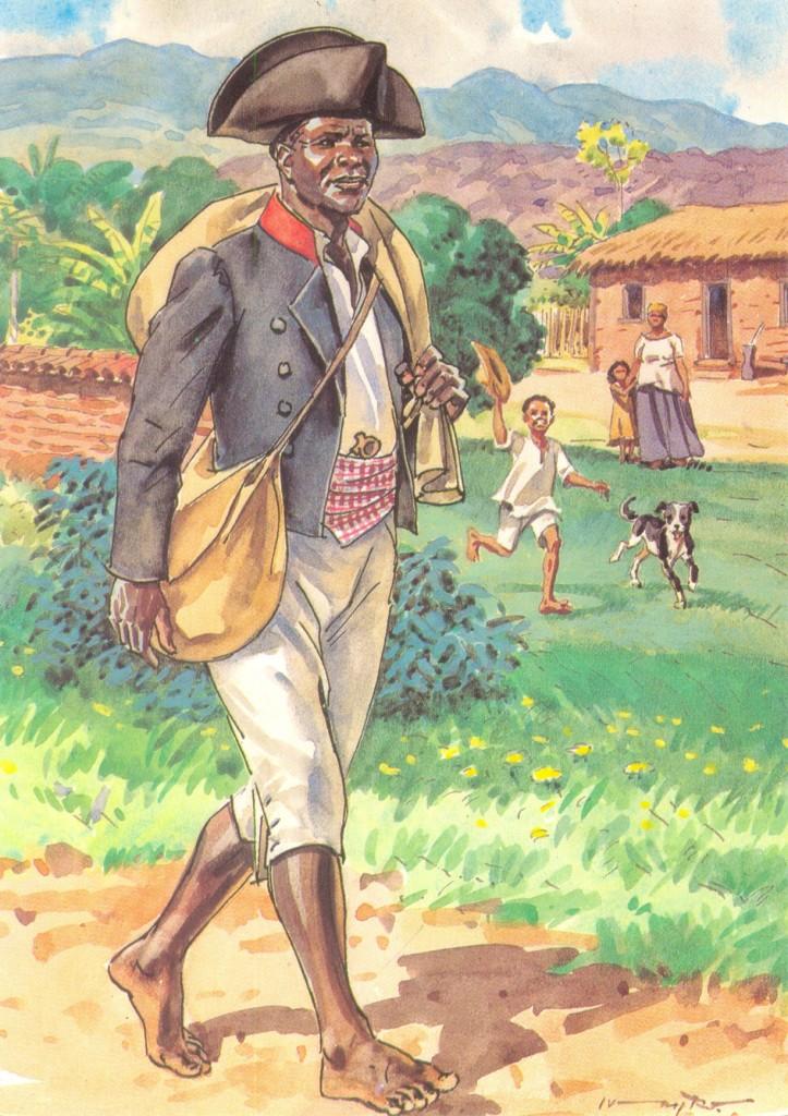 Em 1835 surgiram os primeiros carteiros do jeito como conhecemos hoje. Eles tinham de usar um uniforme especial, que vinha com uma bolsa com duas divisões: uma para guardar as correspondências a distribuir e outra para a introdução de cartas pelos remetentes.