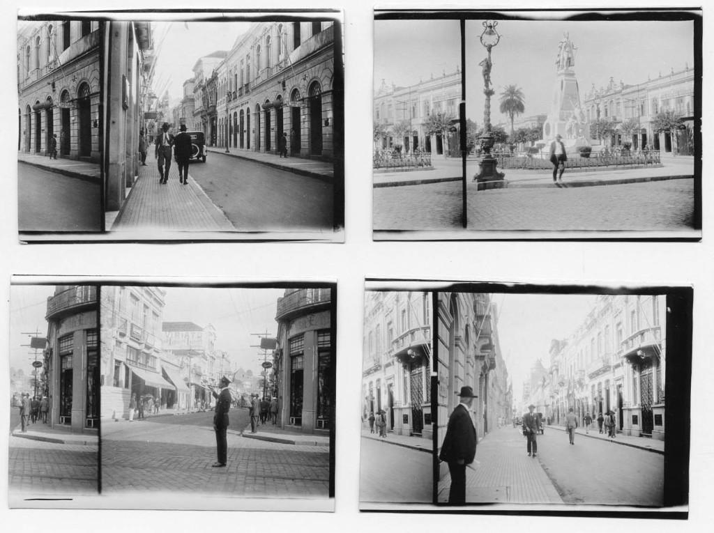 Várias cenas de 1927, no trabalho do inglês James Holmes. Aqui aparecem a Rua XV de Novembro (fotos 1 e 4), Praça da República e Estátua de Braz Cubas (foto 2) e Rua do Rosário (foto 3)