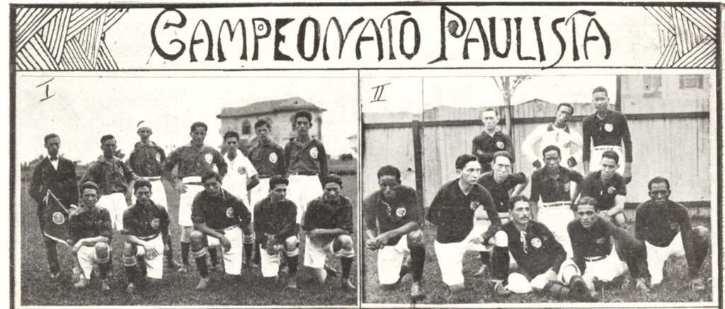 Os dois quadros do time adversário, o Mackenzie, de São Paulo. Ambos seriam derrotados pelos santistas.
